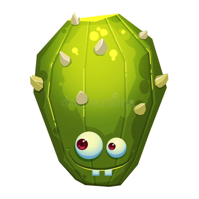 Ilustracja: Fantastyczny Forest Green Kaktusowy potwór odizolowywający na Białym tle realistyczny royalty ilustracja