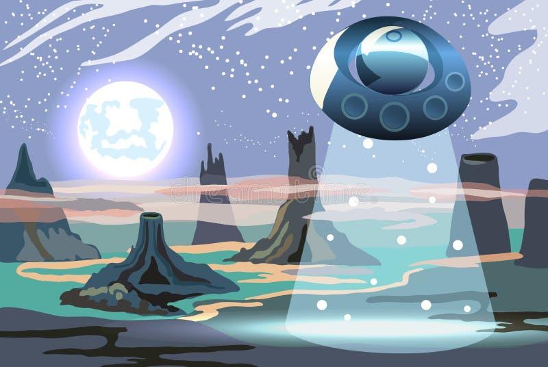 Ilustracja fantastyczny fullmoon krajobraz z UFO dla gemowego projekta zdjęcia royalty free