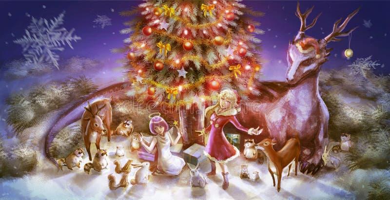 Ilustracja fantazi kreskówki dziewczyny charakteru zwierzęta tak jak smoka królika reniferowa szopowa wiewiórcza odświętność ilustracja wektor