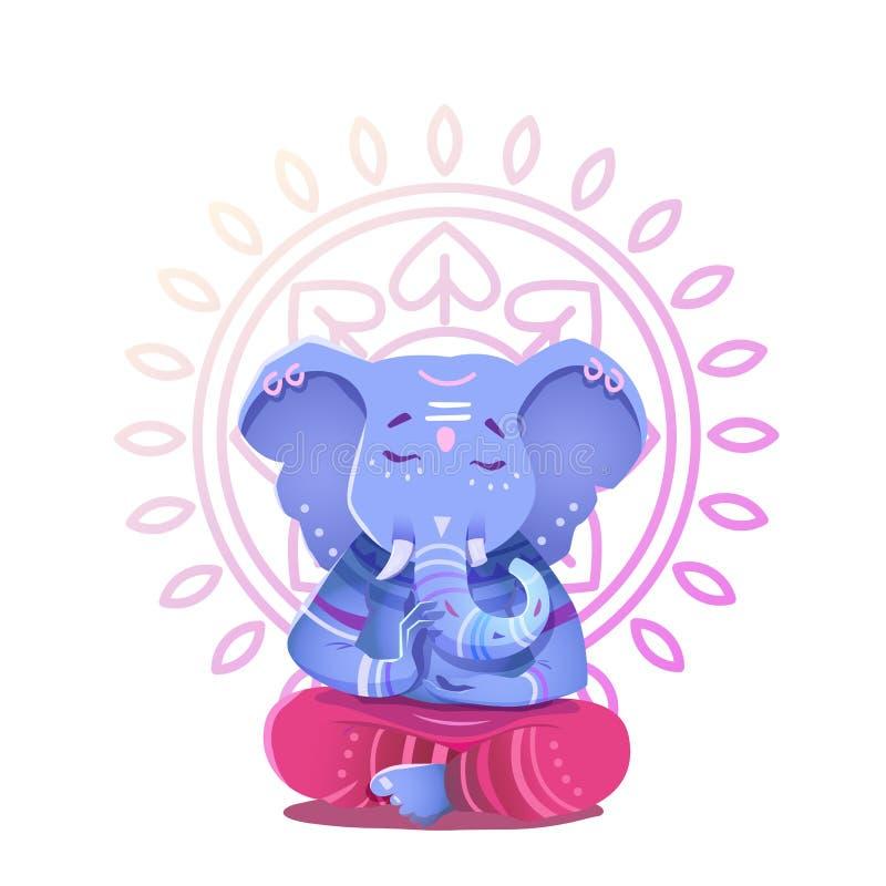 Ilustracja Ganesh Indiański bóg mądrość i dobrobyt royalty ilustracja