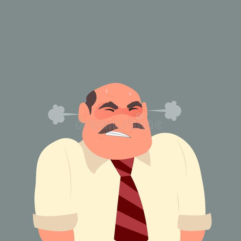 Ilustracja gniewny biznesowy mężczyzna ilustracji