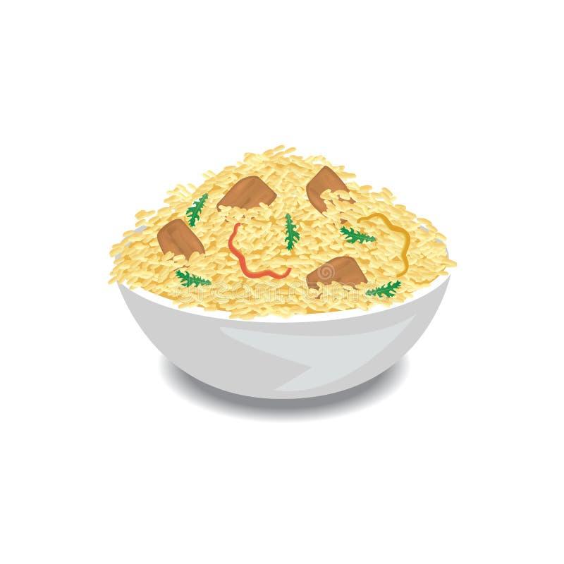 Ilustracja gorący pilaf z ryż, mięsem i pieprzem w pucharze, ilustracji