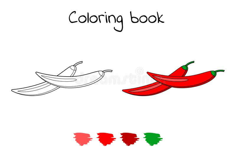 ilustracja Gra dla dzieci warzywo Barwić strony Chili pieprzu royalty ilustracja