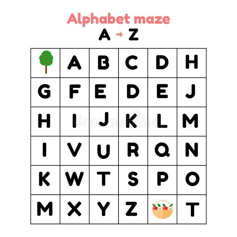 ilustracja gra dla preschool i dziecko w wieku szkolnym abecadło labirynt znalezisko listy od a z ilustracja wektor