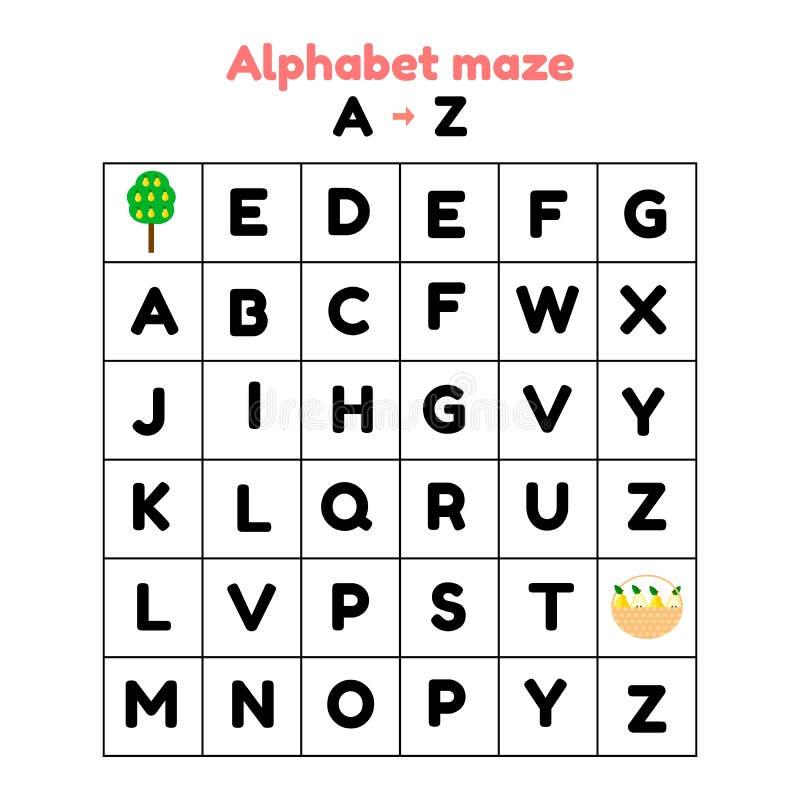 ilustracja gra dla preschool i dziecko w wieku szkolnym abecadło labirynt znalezisko listy od a z royalty ilustracja