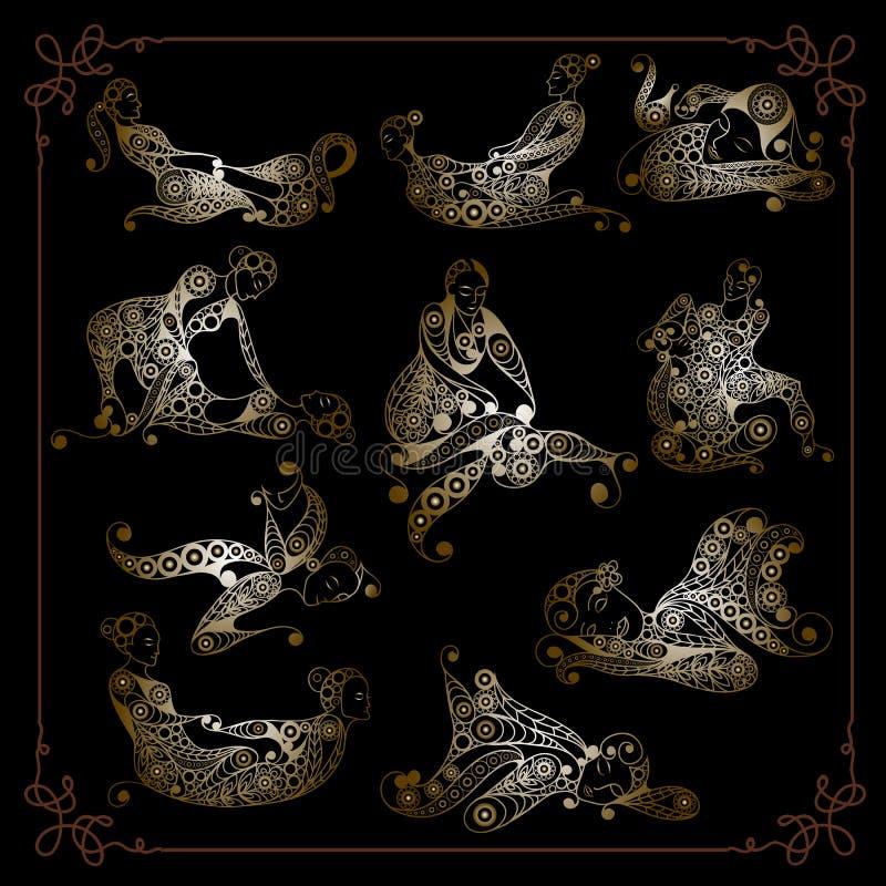 Ilustracja graficzna z tajskim zestawem masażu royalty ilustracja