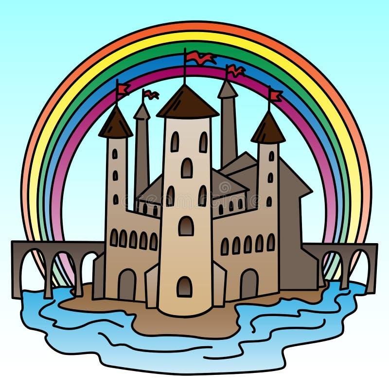 ilustracja grodowy wektor Kolorowa ilustracja fantazja budynek ilustracji