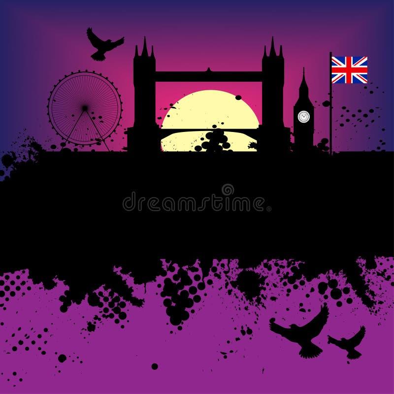 ilustracja grunge miasta Londynu royalty ilustracja