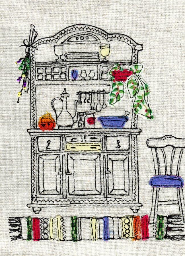 Ilustracja grunge stylu pocztówki, bieliźniana broderia, aplikacja barwione tkanin łaty ilustracja wektor