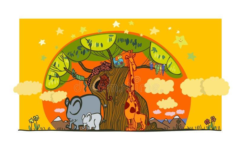Ilustracja grupa Afrykański zwierząt spać royalty ilustracja