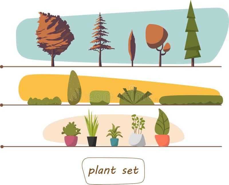 Ilustracja houseplants, salowych i biura rośliny w garnku, Ustawia drzewo krzaki 10 eps zdjęcie royalty free