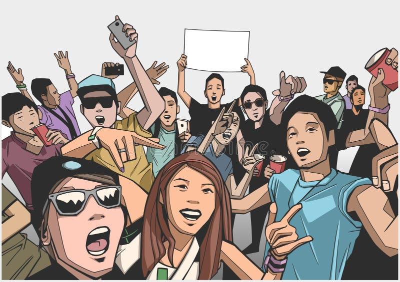 Ilustracja iść szalony przy koncertem festiwalu tłum ilustracji