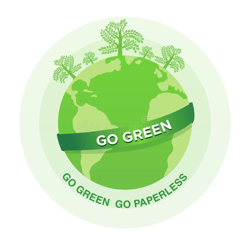 Ilustracja Iść zieleń iść paperless ilustracja wektor