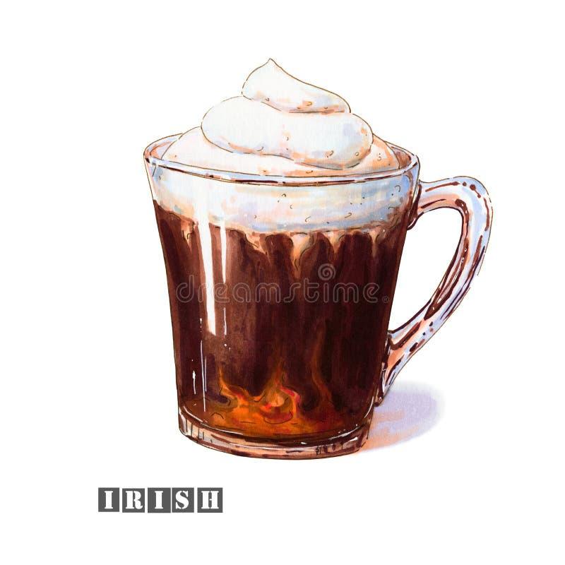 Ilustracja irlandzka kawa z batożącym kremowym i alkoholicznym trunkiem w szklanej filiżance royalty ilustracja