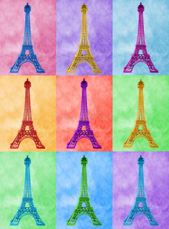 Ilustracja jaskrawy, szpilki wieża eifla na colourful płytce ilustracja wektor