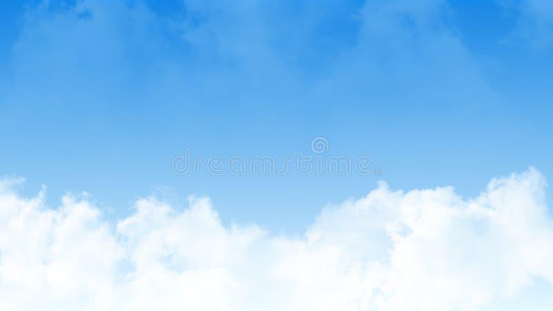 Ilustracja jasny niebieskie niebo z czystymi białymi chmurami Ampuła kopiuje astronautycznego teren Dla produkt sztuki tła, lapto obrazy stock