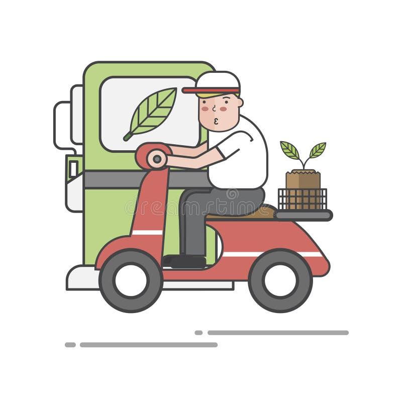Ilustracja jedzie rower mężczyzna ilustracji