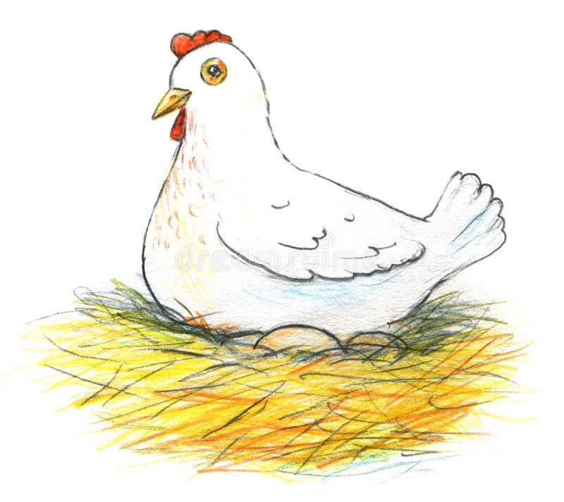 Ilustracja kłaść karmazynka i jej jajka na białym tle ilustracji
