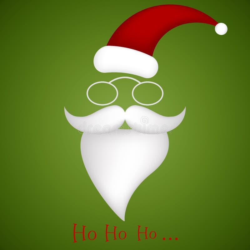 Ilustracja kapelusz, szkła, wąsy i broda Santa, royalty ilustracja
