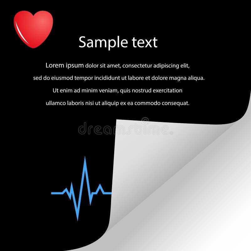 Ilustracja kardiogram, kierowy puls z przestrzenią dla teksta Medyczny wektorowy sztandar royalty ilustracja