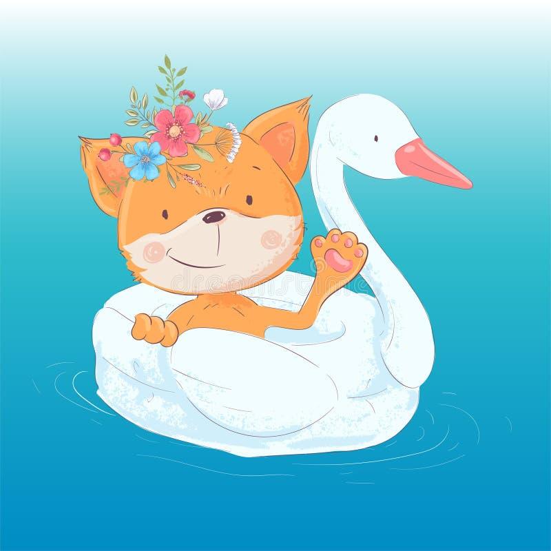 Ilustracja kartka z pozdrowieniami lub princess dla dzieci s pokoju - śliczny lis na nadmuchiwanym okręgu w postaci royalty ilustracja