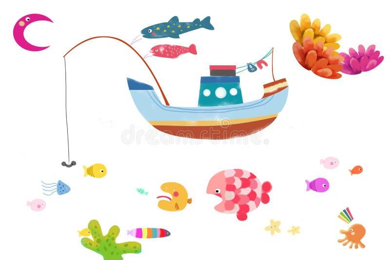 Ilustracja, klamerki sztuka Ustawiająca/: Morski życie ilustracja wektor