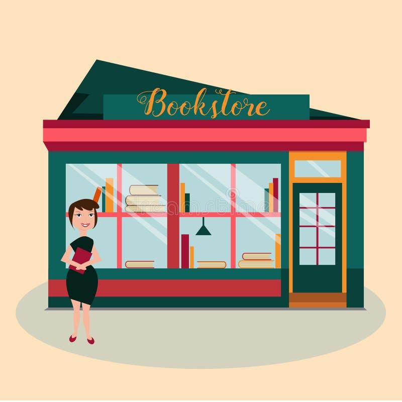 Ilustracja kobieta przed bookstore z książkami royalty ilustracja