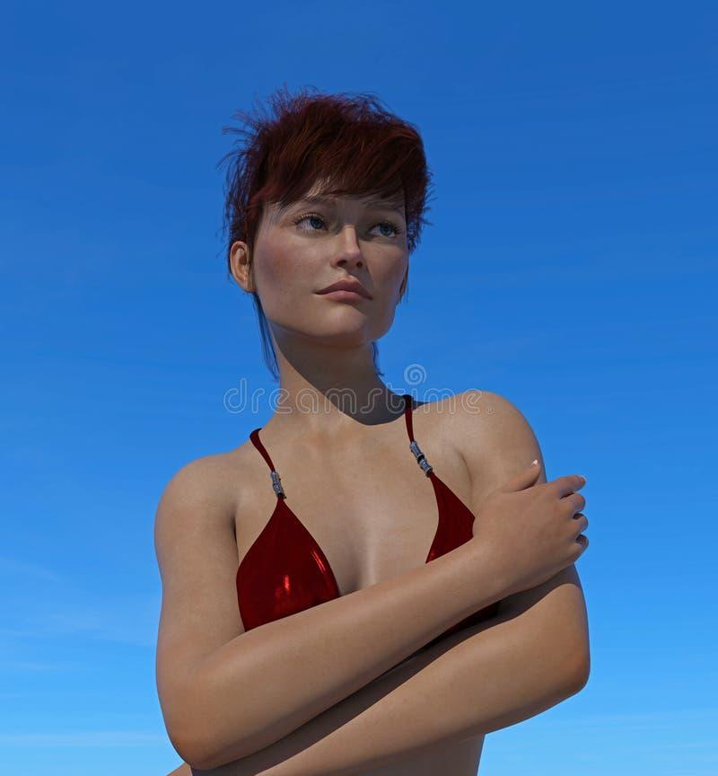 Ilustracja kobieta w bikini wierzchołku ilustracja wektor