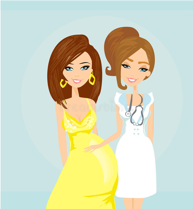 Kobieta W Ciąży Ma Prenatal Checkup royalty ilustracja