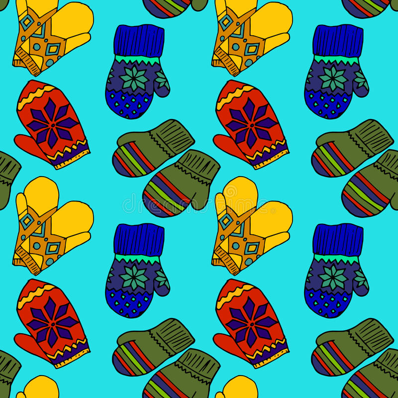 Ilustracja kolorowe mitynki Piękna zimy odzież royalty ilustracja