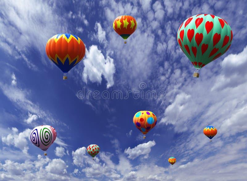 Ilustracja kolorowi lotniczy balony zdjęcie stock