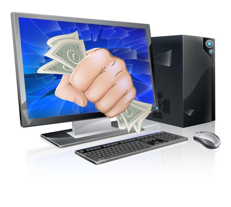 Komputer z pięścią pełno gotówka royalty ilustracja