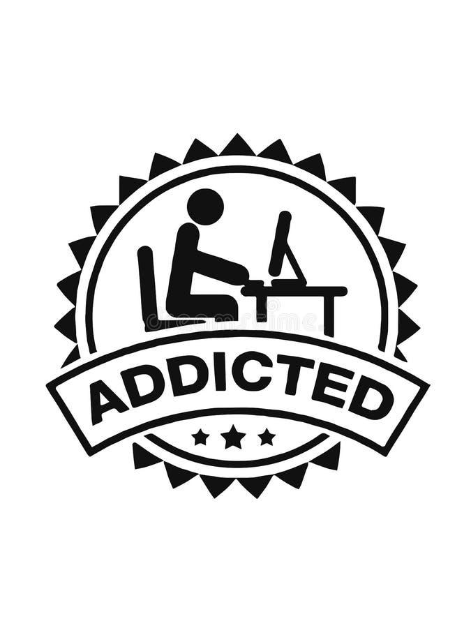 Ilustracja komputer uzależniał się mężczyzny odizolowywającego na białym tle Gry uzależniać się 10 t?o projekta eps techniki wekt ilustracji
