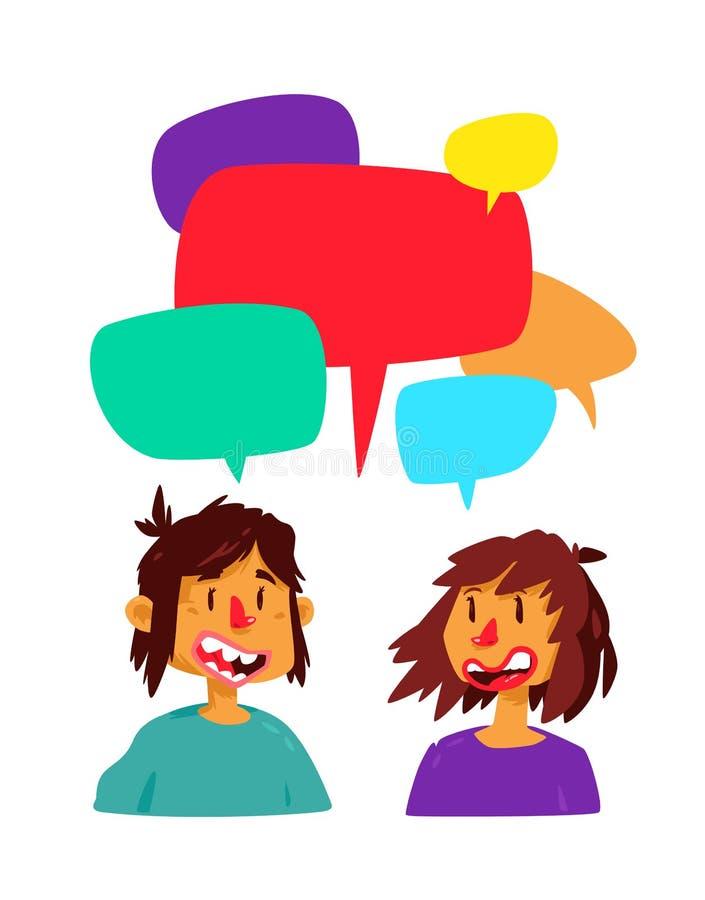 Ilustracja komunikuje facet i dziewczyna również zwrócić corel ilustracji wektora Śliczni charaktery w komiczce, kreskówka styl k ilustracja wektor