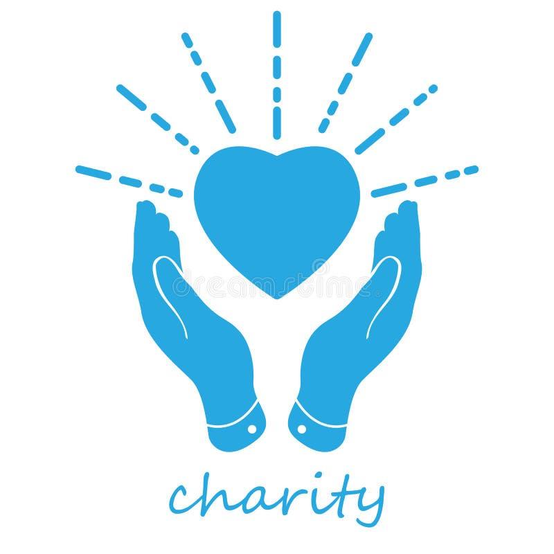 ilustracja koncepcji charytatywnej niebieskie dłonie z sylwetką i liniami na białym tle royalty ilustracja