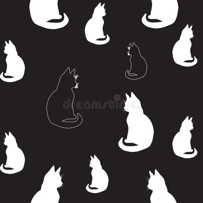 Ilustracja konturowy rysunek odizolowywający kształtuje czarny i biały sylwetki koty w dwa cieniach, artystycznego obrazu siedząc ilustracji