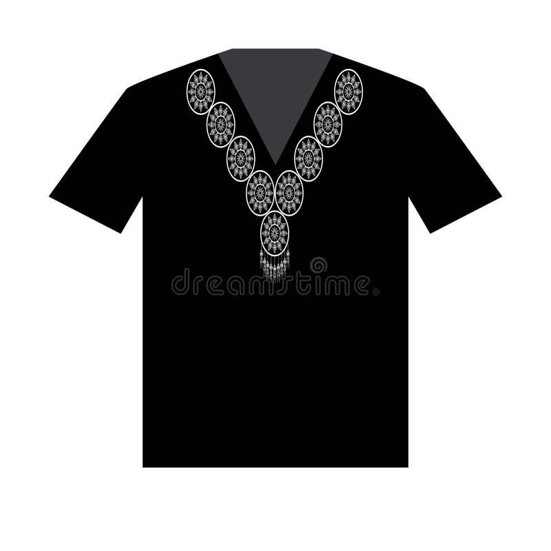 Ilustracja koszulka projekta szablon z Geometryczny etniczny deseniowy tradycyjnym zdjęcia royalty free