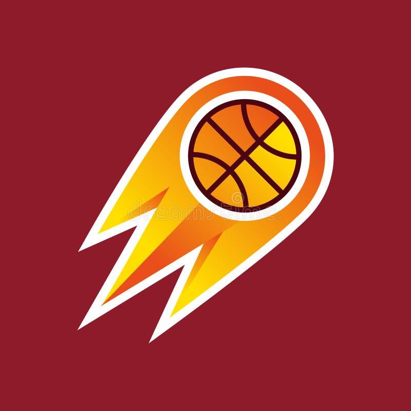 Ilustracja, koszykówka na ogieniu royalty ilustracja