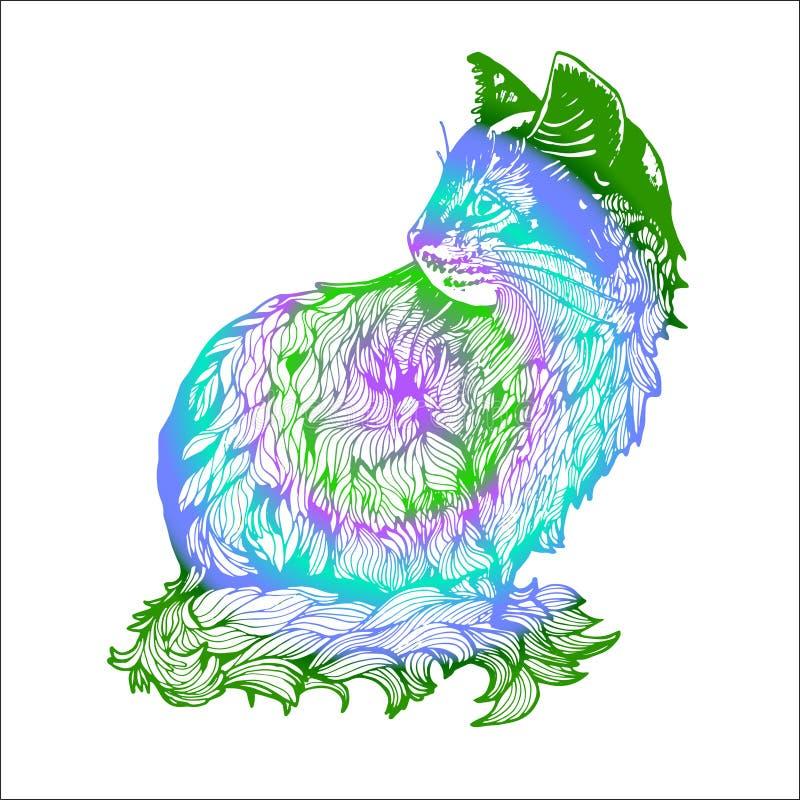 Ilustracja kot robić gałąź i liście Czarny i biały rysunek kot w profilu