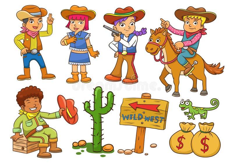 Ilustracja kowbojska Dzika Zachodnia dziecko kreskówka royalty ilustracja