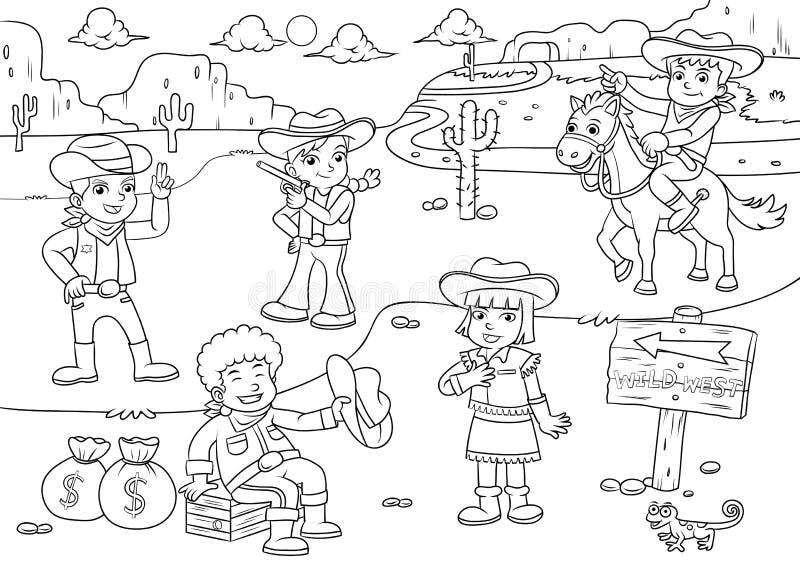 Ilustracja kowbojska Dzika Zachodnia dziecko kreskówka dla Barwić royalty ilustracja