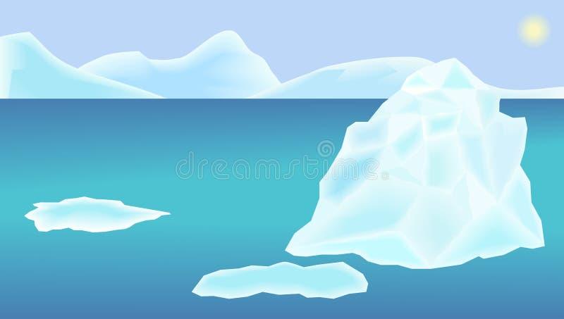 Ilustracja krajobrazowy ocean, góra lodowa, lodowi floes, niebo i słońce, ilustracja wektor