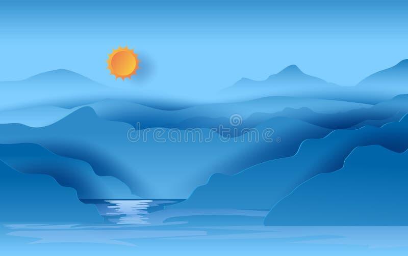 Ilustracja Krajobrazowy widok góry niebieskiego nieba światło słoneczne piękny w jeziorze Gorący lato sezonu widoku jeziorny scen ilustracji