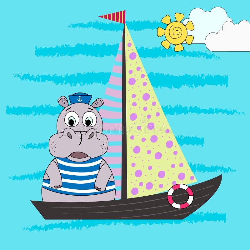 Ilustracja kreskówka hipopotam żeglarz na statku również zwrócić corel ilustracji wektora ilustracji