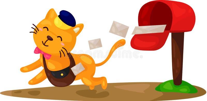 Kreskówka kota listonosz royalty ilustracja
