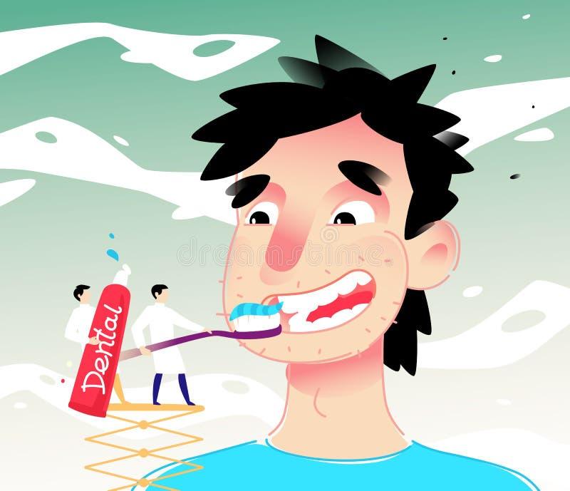 Ilustracja kreskówka mężczyzna cleaning zęby również zwrócić corel ilustracji wektora Chłopiec szczotkuje jego zęby z pastą Wizer ilustracji