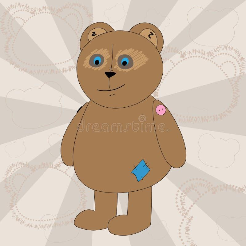 Ilustracja kreskówka niedźwiedź troszkę Koszulek grafika dla dzieciaków Wektorowy tekstylnej tkaniny druk ilustracji