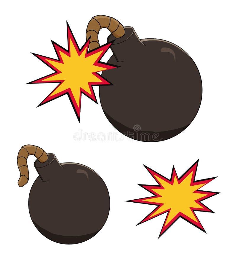Ilustracja kreskówki bomby ikona wokoło wybuchać royalty ilustracja