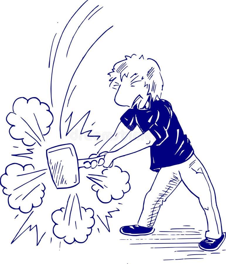 Ilustracja kreskówki chłopiec zatrzaskuje z młotem ilustracji