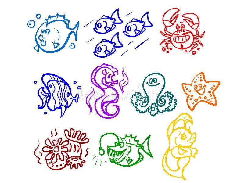 Ilustracja kreskówki denne rośliny, ryba, etc ilustracja wektor
